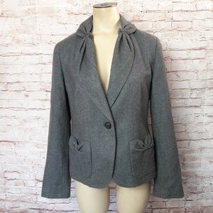 Talbots Gray Career Blazer Jacket Wool Puckered